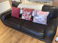 Leather sofas (3+2) plus large footstool