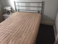 Double bed and mattress with headboard