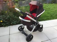 Chicco Urban Plus Stroller 3in1 Travel System (Red) (Car Seat / Isofix Base x 2 / Pram / Pushchair)