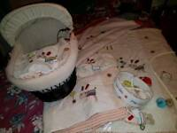 Cot bed bedding and moses basket for sale