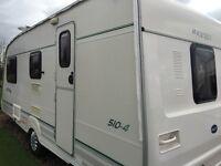 4/6 birth Bailey Ranger 510 caravan or px for fixed bed caravan
