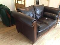 Scs real leather 2 seater sofa dark brown