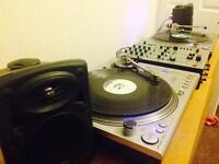 Stanton STR8 100 turntables + Alan & Heath xzone 32 mixer + QTX Active Speakers