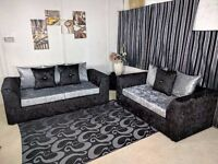 UK EXPRESS DELIVERY | DYLAN BLK/SILVER CRUSHED VELVET CORNER SOFA OR 3+2 SEATER | 1 YEAR WARRANTY