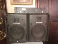 kam power amp and carlsbro speakers