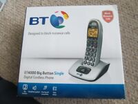 BT4000 BIG BUTTON SINGLE DIGITAL CORDLESS PHONE. BOXED AND NEW