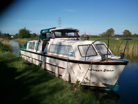 30ft Creighton Canal Cruiser Moored at Blackleach Marina Lancaster Canal
