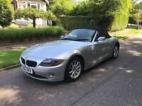 BMW Z4 2.2i CONVERTIBLE 2004 SILVER BLACK LEATHER LONG MOT 07534349013