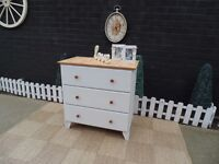 SOLID PINE LARGE CHEST OF DRAWERS PAINTED WITH LAURA ASHLEY PALE DOVE GREY