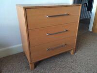 Chest of drawers, beech effect, 72 cm x 70 cm x 43 cm