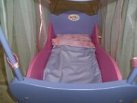 Baby Born 4 poster doll's cot with bedding. Beautiful condition. Pink, Lilac. Very Rare