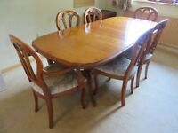 Dining Room Table and Chairs x 6, extendable, house clearance sale