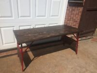 Bespoke Design Reclaimed Wood Trestle Table - Good and Solid - Heavy Dining Table or Outside
