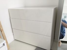 High Gloss White Habitat Perouse drawers x2