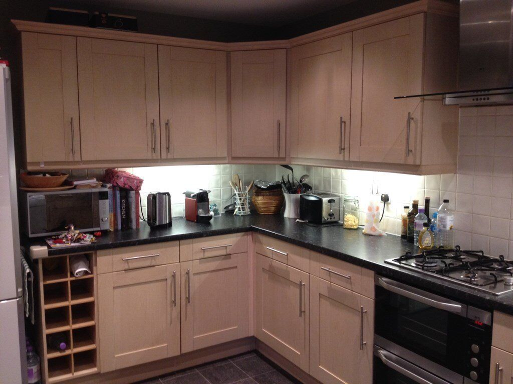 Kitchen units for sale- entire kitchen, 15 units, birch, good condition + laminate worktops