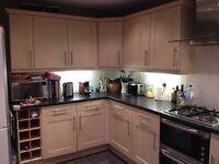 Kitchen units for sale- entire kitchen, 15 units, birch, good condition + laminate worktops