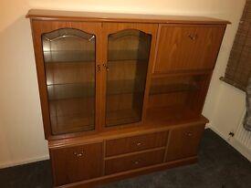 Solid wood wardrobe, book shelf , very good condition