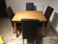 TABLE 1000X800 + 4 CHAIRS