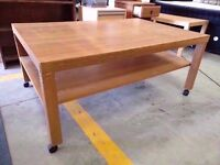 Large coffee table on wheels 119cm x 79cm x 50cm