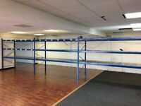 4 BAYS HI-LO INDUSTRIAL LONGSPAN SHELVING 2.1 METERS HIGH AS NEW ( PALLET RACKING , STORAGE)
