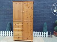 SOLID PINE FARMHOUSE WARDROBE WITH SHELVES AND DRAWERS LOADS OF STORAGE EXTREMELY SOLID