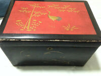Antique/Vintage Shabby Japanese/Asian Lacquer Storage Box