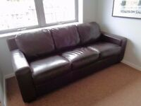 Dark Chocolate Brown Real Leather Sofa And 2 Armchais - LOCAL FREE DELIVERY