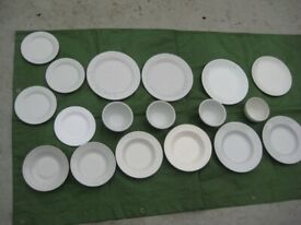 18 White Dishes: 4 Dinner Plates, 4 Side Plates, 6 Soup Bowls and 4 Cereal Bowls - All for £12.00