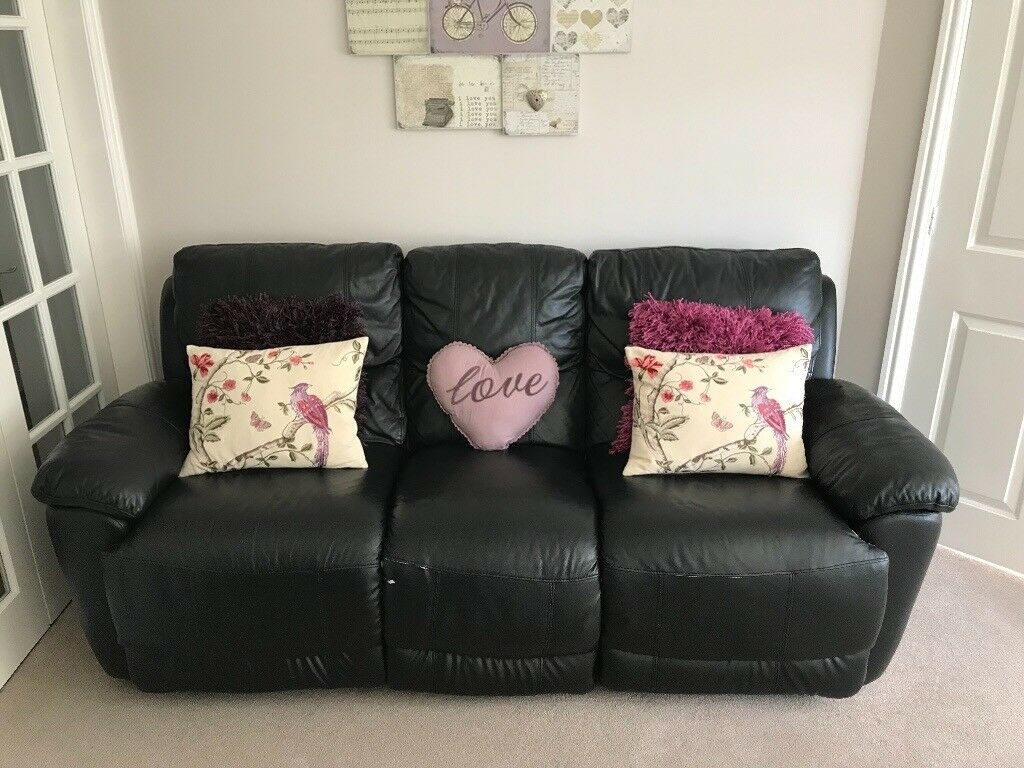 3 Seater Black Leather Sofa Previously Bought From Harveys Furniture