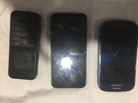 iPhone 5, Samasung s3 mini, Nokia