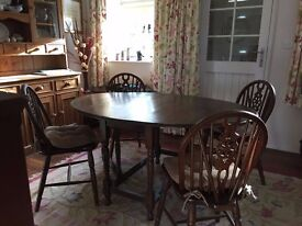 Gateleg dining table and 4 wheelback chairs