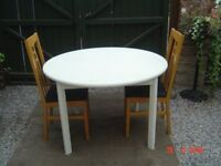 Four Foot Circular Chalk Painted Dining Table with Two Highbacked Beech Dining Chairs. Can Deliver