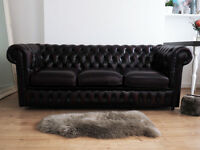 Vintage Oxblood Chesterfield Three Seater Leather Sofa