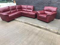 Dfs leather corner sofa with matching armchair can deliver locally 😁🚛👍🏻