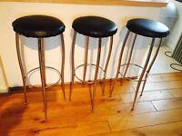 Bar stools with black seat - 3 units