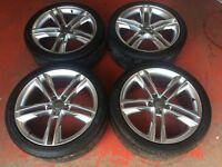 19'' NEW AUDI S5 STYLE ALLOY WHEELS TYRES 5X112 A5 VW A4 B8 A6 PASSAT