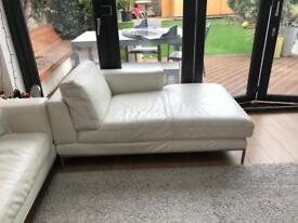 Ikea white leather chaise longue