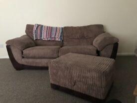 Brown large 3 seater sofa