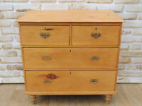 Medium Antique Pine wooden chest of drawers Brass (Delivery)