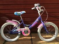"Girls 18"" Claud Butler Bike - Great condition. Purple with mermaids. Single gear."