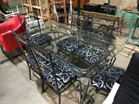 Luxury Glass Dining Table with 6 Matching Chairs - Dining Room
