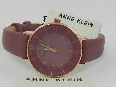 Anne Klein Women's Mauve Leather Strap Watch 32mm AK/3156RGMV