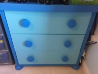 Children's blue ikea chest of drawers