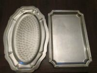 Stainless steel trays, goblets, breakfast set and various pieces
