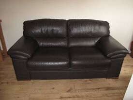 2/3 Seater Leather Sofa in Chocolate Brown