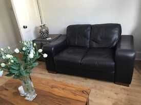 Stylish 2 Seater Brown Leather Sofa