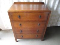 VINTAGE OAK FOUR DRAWER CHEST OF DRAWERS FREE DELIVERY