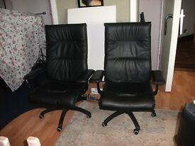 BLACK LEATHERETTE SWIVEL OFFICE CHAIRS x 2