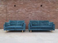 2 x Teal Blue DFS 3 & 2 Seater Sofas Suite Retro/Scandi Inspired