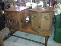 pine coffee table with 2 end tables